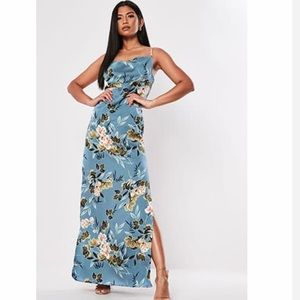 Missguided Satin Floral Gown